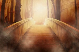 Sonnenuntergang-Brücke